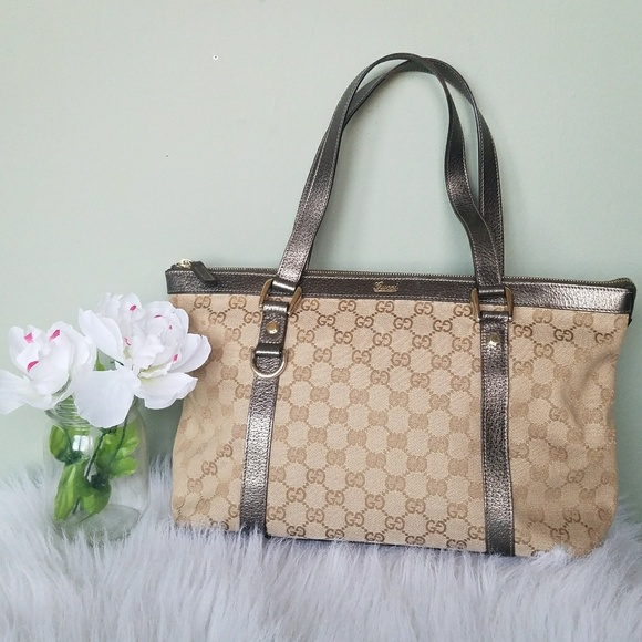 71b902957f7 Gucci Handbags - Gucci Monogram Medium Abbey Tote Metallic